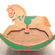SALE HALLMARK Wood Rocking Horse Napkin Holder - 1988