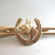 SALE Vintage Hickok Horsehead Horseshoe Tie Bar