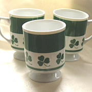 Three Lefton Green Shamrock Clover Irish Coffee Footed Mug Mugs