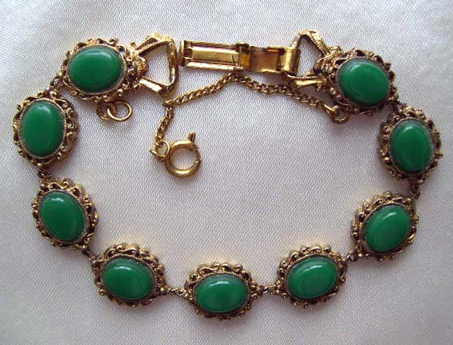 LJM signed Green Stone Bracelet circa 1955
