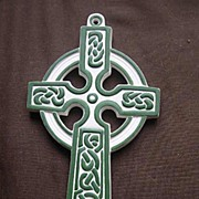 SALE Lefton Green and White Celtic Irish Cross Wall Plaque