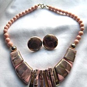 Pink Collar Style Necklace and Earrings Set Made in Japan