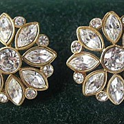 Monet Goldtone Earrings Set with Clear Rhinestones
