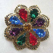 Multi-colored Rhinestone Pin Signed Jane