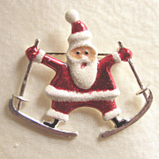 Santa on Skiis Skiing Holiday Pin