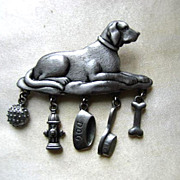 SALE JJ Jonette Pewter Dog Pin with Charms