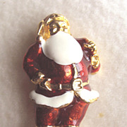 Red Enameled Santa Claus on Skiis Snowshoes Pin