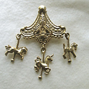 SALE Goldtone Carousel Pin with Three Horse Charms