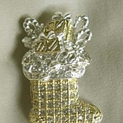 ROMAN Two-tone Holiday Stocking Pin with Clear Rhinestones