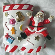 "Vintage ""Santa and Boot"" Ceramic Planter"