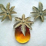 "Sarah Coventry ""Autumn Haze"" Amber Color Pin & Earrings Set"