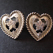 Vintage Western Sterling Silver Heart Shaped Collar Tips Tabs