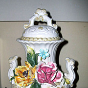 SALE VIntage Capodimonte Urn Vase with Colored Roses - 1318/30