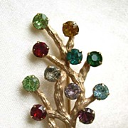 Van Dell  MOTHER'S Family Tree Rhinestone Pin