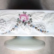 Westmoreland Handpainted Milk Glass Pedestal Candy Dish