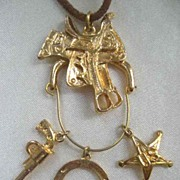 Western Themed Necklace with Charm Holder and Three Charms