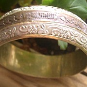 Unique Two Tone Metal Engraved Cuff Bracelet