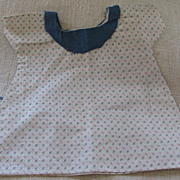 Vintage Doll Dress W/ Early Fabric - Primitive Style