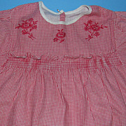 Vintage Red/White Gingham Doll Dress - Hand Embroidery