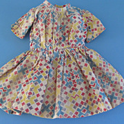 Vintage Doll Dress - Pleated Bodice - Multi Color Print