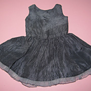 Vintage Black Gingham Doll Dress - For Bisque Doll