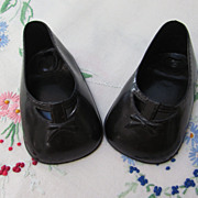 Large Black Vinyl Doll Shoes
