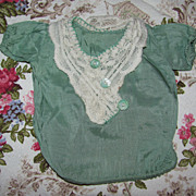 Lovely Green Doll Shirt With Lace & Buttons