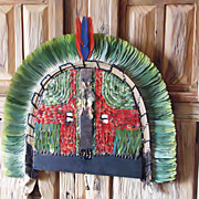 Amazon Indian Headdress & Mask 2 - Kayapo Feather Art