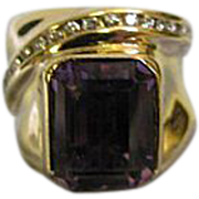 Emerald Cut 6.13ct Purple Amethyst & 14K Gold Ring