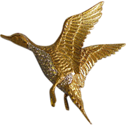 Amazing Estate 18k Gold and Diamond Duck Brooch 17.80gm