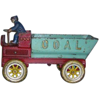 "8.5"" Kenton Working Cast Iron Toy Coal Dump Truck"