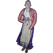 18&quot; 1890s Creche Neapolitan Older Woman Rare Glass Eyes