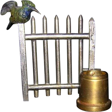 "3.75""x 4"" 20th Century Match Holder-Striker Bird on Fence"