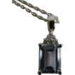 14 KT White gold lady's 7 stone (aquamarine & diamond) Pendant with Chain