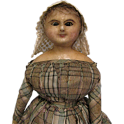 18&quot; Early WAX-OVER c1830 Doll with Glass Wire-Sleep Eyes, Original Clothes