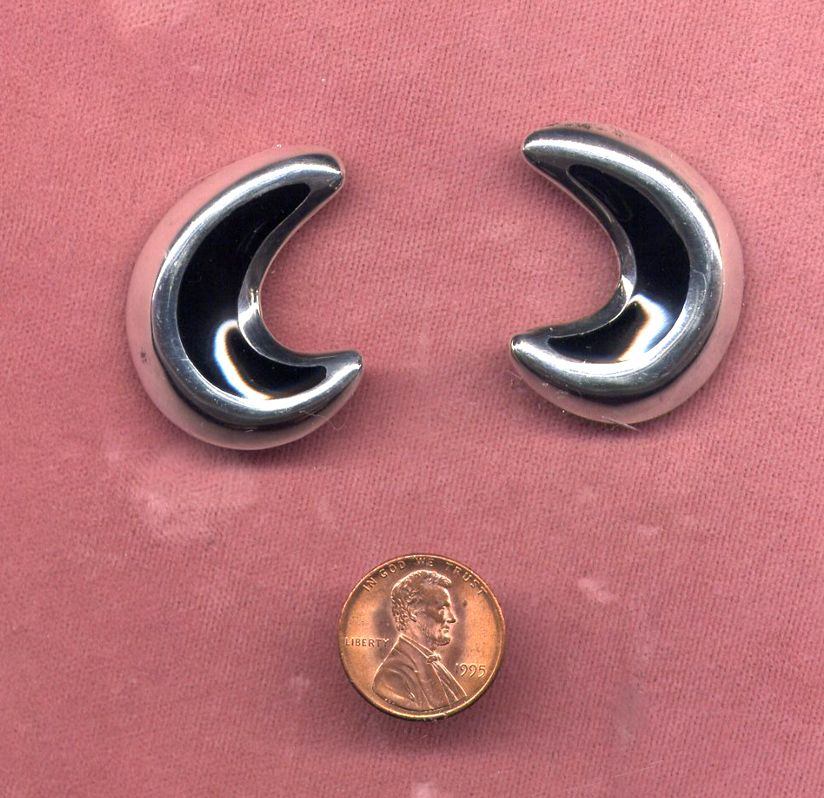Mexican Sterling and Black Enamel Clip Earrings