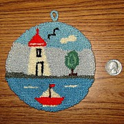 SALE Tiny Hooked Wall Hanging Rug with Lighthouse