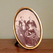 Oval Brass Tabletop Picture Frame with Decorative Beading