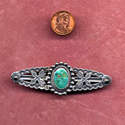 Sterling Silver and Turquoise Navaho Pin