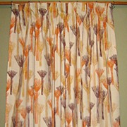 SALE 70's Drapery Panel with Abstract Orange & Brown Design