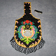 Large Fringed Vintage Beaded Bag with Roses