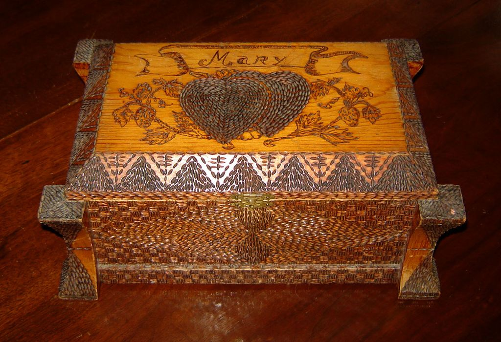 Folk Art Box with Hearts for Mary