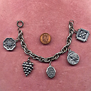 Vintage Coin Silver Medallion Charm Bracelet