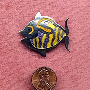 SALE Castelan Mexico Sterling Enamel Fish Pin