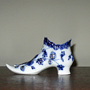 Flow Blue Pottery Ladies' Shoe Vase