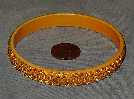 Orange Celluloid Bangle Bracelet with Orange Rhinestones