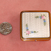 Evans Brass Ladies' Compact with White Enamel Top