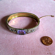 Costume Bangle Bracelet with Faceted Lavender Stone