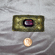 Brass Edwardian Sash Pin with Faceted Purple Glass Stone