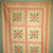 "Vintage Sateen ""Rose of Sharon"" Appliqued Quilt"